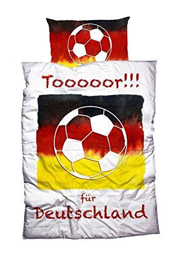 """Preisvergleich Produktbild CASATEX Bettwäsche """"Toor"""" rechtzeitig zur Fußball-WM, Renforcè, 135x200 cm + 80x80 cm, 2-tlg. Set, weiß-bunt"""