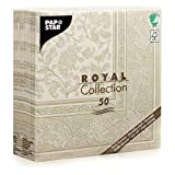 Papstar 11681 50 Serviettes-Collection Royal-1/4 pli-40x40cm-Ornements, Papier, Champagner, 20 x 8 x 20 cm