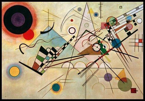 Bild mit Rahmen Wassily Kandinsky - Komposition VIII - Digitaldruck - Alimunium schwarz glänzend, 100 x 70cm - Premiumqualität - Klassische Moderne, abstrakte Kunst, geometrische Formen, abstrakte Muster, .. - MADE IN GERMANY - ART-GALERIE-SHOPde - Abstrakte Kunst-muster