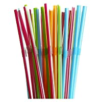 Hotpack Extra Long Disposable Flexible Plastic Drinking Straws, 6MM, 250 Pcs