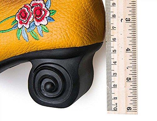 Pump 6cm Chunkly Tacco Round Toe Ricamo Cuoio Mid Heels Scarpe Dress Scarpe Corte Scarpe Donna Semplice Vento Nazionale Cina Buckle Casual Scarpe 2017 Autunno E Inverno Nuovo Eu Taglia 34-39 Black