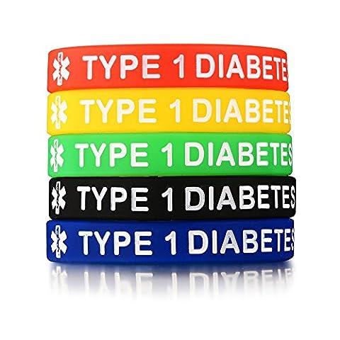 Vnox 5 Stück Silikon Gummi Typ 1 Diabetes Medical Alert ID Armband Notfall Armband,5 Farben