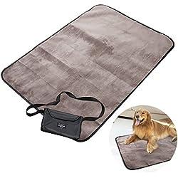 UEETEK Manta para mascotas, impermeable y de felpa manta para perros con bolsa de transporte portátil para perros Perrito Gato aplicaciones para exteriores,100 * 70CM (L * W)