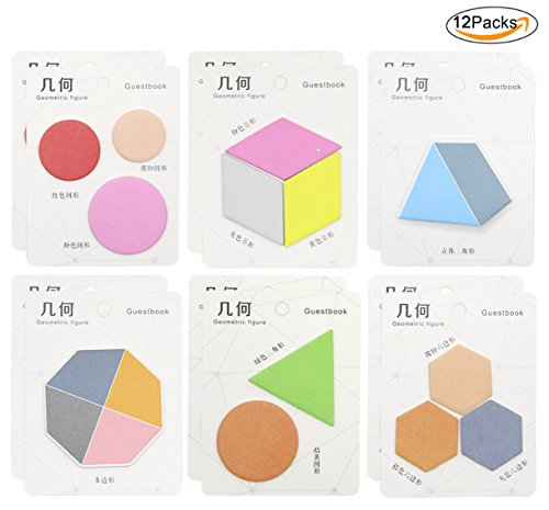 cuddty 12Stück Geometrie N Sticky Notes Pad Memo Farben Aufkleber Notizen Index Tag für Büro Schule