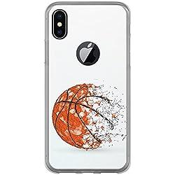 Funda Iphone X, Carcasa de silicona flexible TPU, diseño: Pelota de baloncesto, abstracto