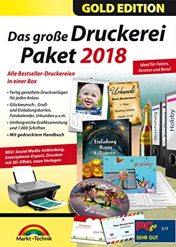 Das große Druckerei Paket 2018 Einladungen, Etiketten, Glückwunschkarten, Visitenkarten, CD/DVD Druckerei - 50.000 ClipArts und 5.000 lizenzfreie Fotos