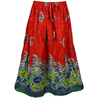 Mogul Interior Womens Bohemian Skirt Red Floral Print Gypsy Long Skirts
