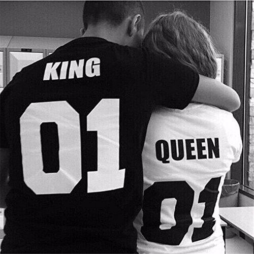 Evalubuy (TM) - Camisetas de manga corta de algodón para parejas, con texto «king» y «queen»