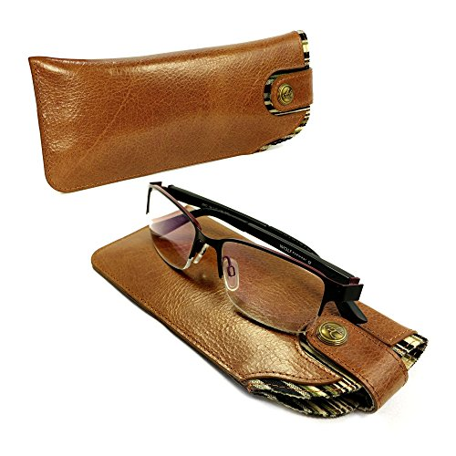 Alston Craig Personalised Vintage leather case for Glasses / Sunglasses - Brown
