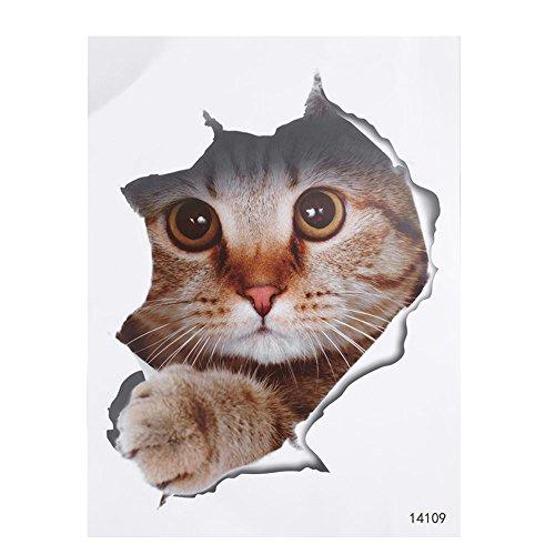 Kicode El gato encantador del perro Pegatinas WC 3D Agujero Animales Mural...