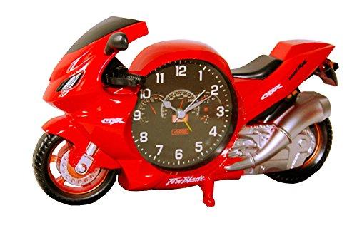 Modellnummer: PF6006A Motorrad Bike Biker Uhr Wecker Motorraduhr Motorradwecker Quarzuhr Quarzlaufwerk Blau oder Rot NEU (Rot)