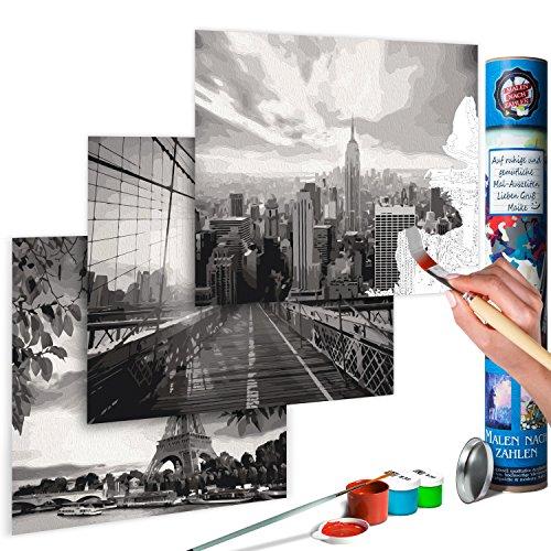 murando - Malen nach Zahlen - Stadt - New York & Paris 170x40 cm - Malset mit 3 Motiven - Design Geschenk-Tube - DIY - Für Erwachsene und ambitionierte Kinder ab 12 - Perfekt für Hobbymaler n-A-0585-ab-e