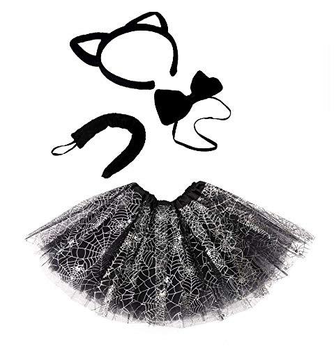 Unbekannt Sexy Katzenkostüm Set - Tütü Kostüme Set - vertrieb durch ABAV (Komplett Spinnennetz Schwarz Tütü Set)