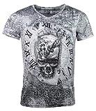 Herren T-Shirt - Skull Time - Totenkopf Uhr - mit Strass Steinen - schwarz/weiß (S)