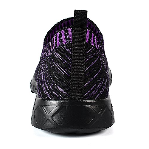 QANSI Scarpe Da Ginnastica Donna leggera Scarpe Da Sportive Mesh Respirabile Slip-on Stile Casual Sneakers morbide Traspirante Viola(nero/viola)
