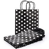 Papiertüten Geschenktüten Geschenktaschen Papiertaschen Premium , 20 stück Tragetaschen mit Griffen - 14x8x20 cm schwarz Polka Dot weiß