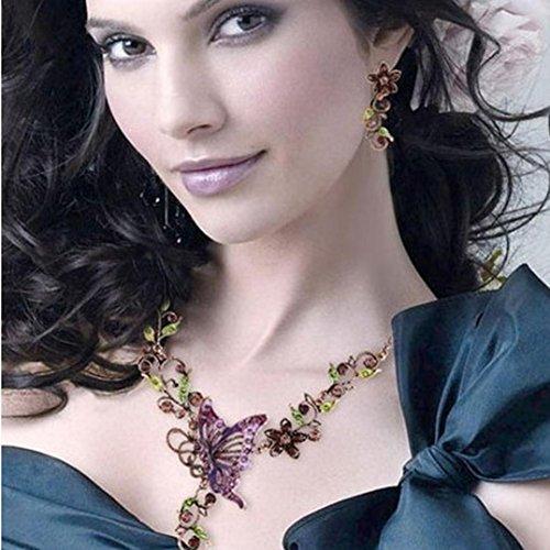 Sunnywill Damen Halskette Kette Choker Anhänger Vintage Schmetterling Halskette Anweisung Ohrringe Schmuck-Set - 4