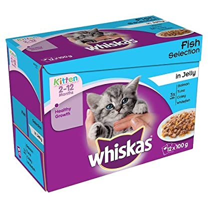 Whiskas Kitten Cat Food Fish Selection in Jelly, 12 x 100g 1