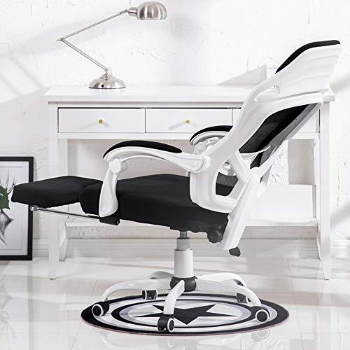 YQJJZX Computersitz, Ergonomischer Stuhl mit 360-Grad-Drehung, Rückenlehne aus Minimalismus-Mesh, weiß Computer-Stuhl, höhenverstellbar for das Büro zu Hause, mit Fußstützen (Color : White)
