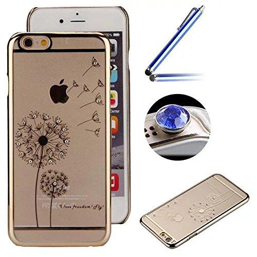 Etsue Dur Clear PC Coque pour iPhone 7 Plus(5.5 Pouce), Luxe Bling [Papillon Dorée] Plaquer par Galvanoplastie Diamant Glitter Cristal Ttransparent Coquille Dure Aérien Protecteur Case étui pour iPhon Pissenlit Dorée