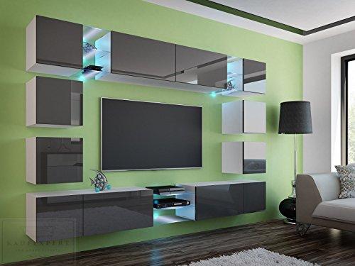 Wohnwand E Grau Hochglanz/Weiß ✔ Gehärtetes Glas ✔ ABS- Kanten ✔ Kanten in Hochglanz ✔ MDF-Fronten ✔ LED Beleuchtung ✔ Push To Open ✔ Grifflos ✔ Modern ✔ Design ✔neue bessere Version (anderer Hersteller)