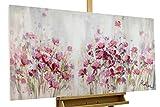 KunstLoft® Acryl Gemälde 'Lilac Reverie' 120x60cm | original handgemalte Leinwand Bilder XXL | Blumen Rosa Lila Blüten Shabby Chic | Wandbild Acryl bild moderne Kunst einteilig mit Rahmen