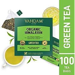 Feuilles de thé vert de l'Himalaya (100 sachets), thé 100% de perte de poids naturelle, thé de désintoxication, thé amincissant, anti-OXYDANTS Riche - thé vert en vrac