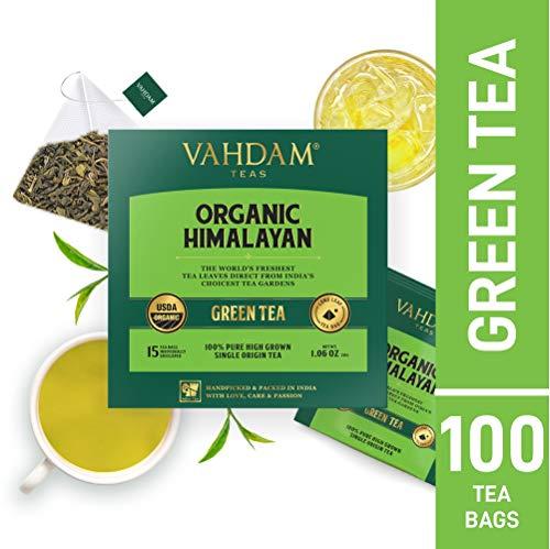 Green Tea Leaves from Himalayas (100 Tea Bags), 100% Natural Weight Loss Tea, Detox Tea, Slimming Tea, Anti-OXIDANTS Rich - Green Tea Loose Leaf - Brew Hot or Iced Tea