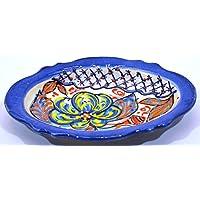 VASSOIO OVALE in ceramica fatto e dipinto a mano con decorazione flor 18,5 cm x 14 cm (FLOR MARINA AZUL)