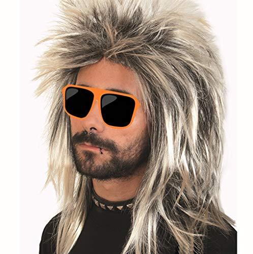 PKQ® Perücken Herren, Schwarz Blond Vokuhila Perücke Long Perücke Männer Kunsthaar Haarteile