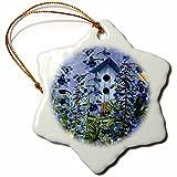 3dRose orn_79436_1 Larkspur Garden Julys Birth Flower with Birdhouse and Butterflies Snowflake Porcelain Ornament, 3-Inch