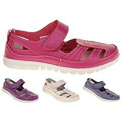 a3a019d4244 Ladies womens velcro comfort casual walking flat summer sandals size ...