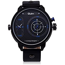 HongBoom Luxury Genuine Leather Band Two Movement Blue Wrist Watch Mens Casual Business Analogue Quartz Radar Wrist Watches Fashion Dress Wristwatch