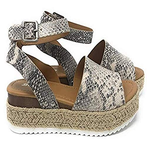 Large Size Leopard Sandals Female European and American Thick Bottom Hemp Braided Belt Ladies Sandals Snake Pattern 36