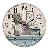 linoows Romantische Landhaus Wanduhr mit Lavendel und Blumen, Rustikale Küchenuhr