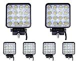 Greenmigo 6x 48W Led Scheinwerfer Offroad Lampe Flood Arbeitsscheinwerfer LED Arbeitslicht 12V 24V Zusatzscheinwerfer Rückfahrscheinwerfer für Traktor Bagger SUV - 60 Grad Wasserdicht IP67 4320LM