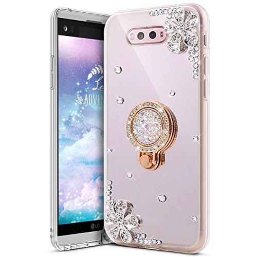 u Sparkle Bling Glitzer Diamant Blume Luxus Strass Weich Silikon TPU Halter Halterung Gummi Spiegel Fall mit Ring Ständer Gel Bumper Cover für LG V20 silber ()