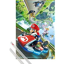 Póster + Soporte: Super Mario Póster (91x61 cm) Kart 8, Princesa Peach, Luigi Y 1 Lote De 2 Varillas Transparentes 1art1®