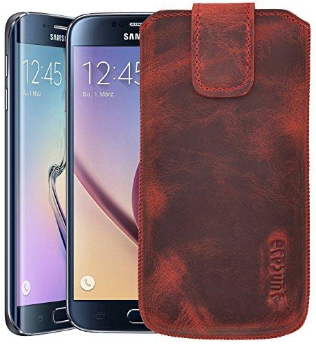 Samsung Galaxy S6 (SM-G920F) / Samsung Galaxy S6 Edge (SM-G925F) / Original Suncase® Tasche Leder Etui Handytasche Ledertasche Schutzhülle Case Hülle *mit Zieh-Lasche* antik-rot