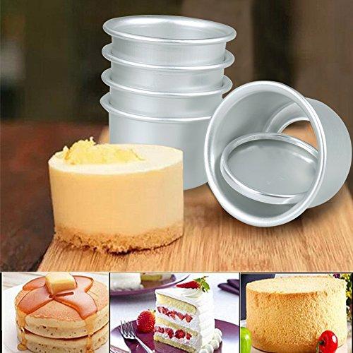 TiaoBug 5er Set Runde Backform Muffinform aus Aluminium Muffin-Set kleine Förmchen Mini Kuchenform mit Abnehmbare Böden DIY Backen Zubehör