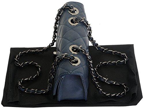 Borsa di cuoio italiano Design classico diamante forma borsa tracolla imbottita, con catena in metallo e cuoio, maniglie / tracolla include una custodia protettiva marca Blu navy