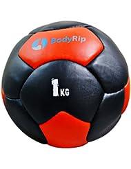 BodyRip 20,32 cm cuero balones medicinales - negro/rojo, 1 kg