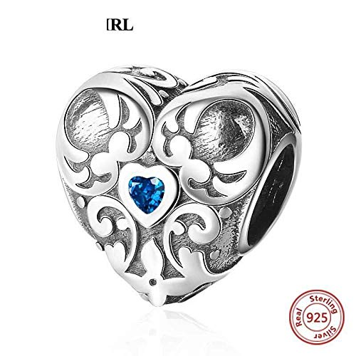 New Sterling Silver Heart-Shaped Pattern Blue Cz Necklace Pendant Charm For Jewelry Making Europe Bracelet Bangle Women Girl Gift