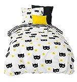 Aminata Kids - Kinder-Bettwäsche-Set 135-x-200 cm Super-Held-en-Motiv Maske Comic 100-% Baumwolle Renforce Weiss-e schwarz-e gelb-e