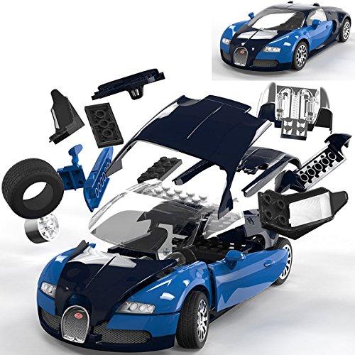 Spielzeug-Auto Bugatti Veyron 16.4 aus kompatiblen Bausteinen, 23cm - Kinder Bausatz Quick Build Modell Fahrzeug