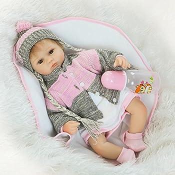 Nicery Reborn Baby Doll Soft Silicone 18in 45cm Toy White Bib Eyes Open