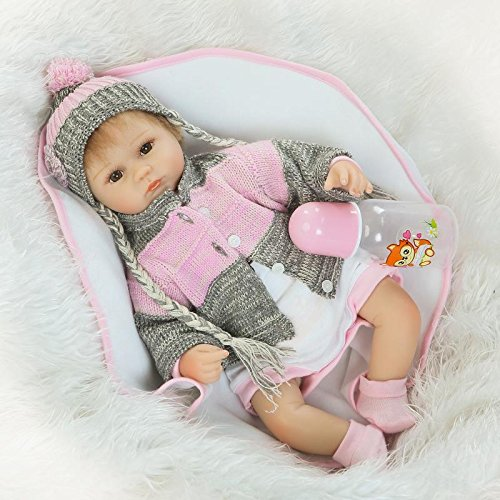 Nicery Reborn Baby Doll Soft Simulation Silicone Vinyl 18inch 45cm Magnetic Mouth Lifelike Toy Boy Girl RD45C037O Eyes Open