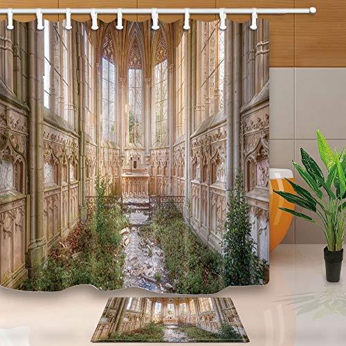 AdaCrazy Gothic House Decor Abandoned Kirche Korridor mit Unkraut bedeckt 71X71in Mehltau resistent Polyester Anzug 40x60cm Flanell Rutschfeste Boden - Womens Kirche Anzüge