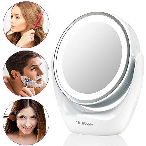 Medisana CM 835 Espejo de maquillaje redondo, Espejo de mesa con iluminación LED y 5 aumentos - Espejo...