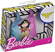 Barbie Clothes: Wonder Woman Character Top Dolls, Pink & Blue Tee with Wonder Woman Graphic, Gift for 3 to